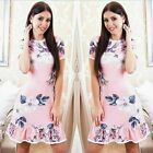 Summer Women Sundress Mini Ruffle Dress Floral Bodycon Beach Short Sleeve Shirts