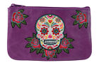 Lavishy Rockabilly Rose & Sugar Skull Embroidered Small Flat Pouch image