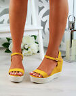 New Womens Platform Sandals Espadrille Ankle Strap Wedge Summer Shoes Sizes 3-8