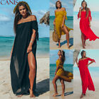 Women Sexy Off Shoulder Beach Short Sleeve Shirt Dress Lace Beach Maxi Dresses