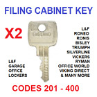 2 x Filing Cabinet Spare Key 92201 to 9240 L&F, Roneo, Bisley, Triumph, £2.85 GBP on eBay