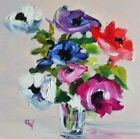 "Original Oil Painting~""Colourful Anemones In Vase ""~7"" x 7""~ Framed/Unframed"