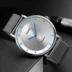 SKMEI Mens Womens Ultra Thin Minimalist Stainless Steel Mesh Band Wrist Watch US image