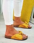 New Womans Slip On Sliders Bow Flatform Mule Summer Sandals Comfy Shoes Sizes