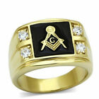 Masonic Stainless Steel 316 Lodge Ring, IP 14kt Gold,  AAA Grade CZ Clear, 14