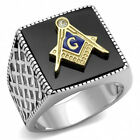 Mason's Stainless Steel 316 Two Tone IP Gold Jet Black Agate Masonic Ring  13