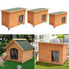 S/M/L SIZE DOG KENNEL WOODEN PETS HOUSE APEX/FLAT ROOF OUTDOOR SHELTER WOOD CAGE