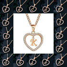 Heart Crystal Initial A-z Letter Name Pendant Necklaces Women Men Chain Jewelry