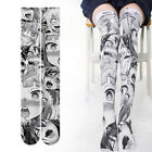 Anime Ahegao Print Thigh High Sock Overknee Stocking Cosplay Velvet Fancy Tights