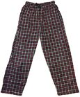HEAD Black Red Plaid Men's Pajama Pants Soft Sueded Fleece Front Fly Pockets