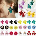 Fashion Women Painting Statement Big Flower Stud Earrings Summer Holiday Jewelry