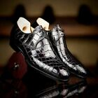 """Men's Handmade """"Printed Crocodile"""" Leather Lace-up Derby Two Rings Formal Shoes"""