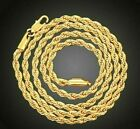 """18K Gold Plated Sterling Silver 4mm Gold Rope Chain 18"""" 20"""" 22"""" 24"""" 26"""" 28"""""""