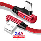 90 Degree Elbow USB Type C LED Fast Charging Charger Cable For Samsung S10 S9 S8