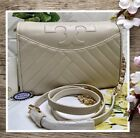 NWT TORY BURCH ALEXA Combo Shoulder Crossbody Bag In BIRCH IVORY Quilt-Leather