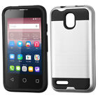 For Alcatel Pixi 4 Brushed Impact Armor Hybrid Hard Phone Protector Case Cover