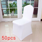 50pcs White Flat Arched Front Covers Spandex Lycra Chair Cover Wedding Party