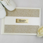 Baby Shower Guest Book Memory Album - Gold Glitter - Personalised Custom Gues...