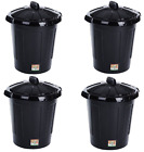 "80L Plastic Waste Rubbish Recycle Bins & Animal Feed Containers Dustbins-""Black"""