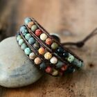 Vintage Leather Bracelet Natural Stone Strand Wrap Woven Multilayer Boho Jewelry