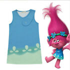 Cartoon Trolls Poppy Princess Dress Cosplay Costume Party Skirt Kids Girls image