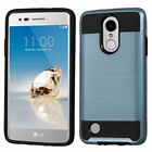 For LG Aristo/LV3 Brushed Impact Armor Hybrid Protector Cover Case