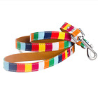 New Leash and Collar Set for Pet Dog Cat ,Canvas + PU Colorful Strip Pet Leash
