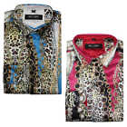 Mens Retro Gold Chain Print Red Blue Designer Style Silky Shirt Dress Party Wear