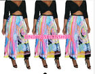 Women Printed Vintage High Street A-Line Pleated Skirts Party Mid-Calf Skirts