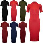 Womens Ladies Stretchy Turtle Polo High Neck Bodyhug Casual Bodycon Midi Dress