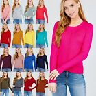 S M L Women Round Neck Button Down Long Sleeve Soft Knit Sweater Cardigan 10747