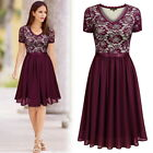 MIUSOL Women Vintage Floral Lace Dress with Chiffon, Scoop Neck, Formal dress