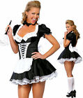 Halloween Satin French Maid Adult Uniform Fancy Dress&Costume Hen Party Outfit#W