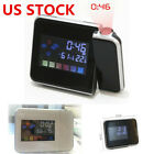 US LED Backlight Digital Weather LCD Projection Snooze Color Display Alarm Clock