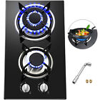 """Tempered Glass 2-5 Burners Built-In Stove Gas Cooktop 12""""~36"""" Black For Kitchen"""