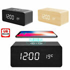 Внешний вид - Modern Wooden Wood Digital LED Desk Alarm Clock Thermometer Qi Wireless Charger