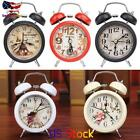Backlight Household Retro Alarm Clock Round Number Double Bell Desk Table Clock