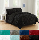 8-Piece Comforter Set Luxurious  Pintuck Design Bed-in-a-Bag W/ Smart Sheet Set
