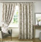 TRAILING FLORAL FLOWERS RED WHITE LINED PENCIL PLEAT CURTAINS 9 SIZES