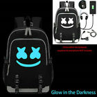 Marshmello Backpack Mello DJ Bag w/ USB Charging Port Headphone Interface Cables