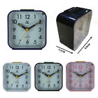 Small Battery Operated Analog Travel Alarm Clock Silent No Ticking
