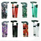 Adjustable Height Folding Floral Design Walking Stick Compact/Aluminium/Easygrip