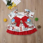 Toddler Kids Baby Girls Christmas Santa Bow Swing Dress Holiday Party Clothes US