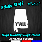 Y'all Alabama Southern Pride American Car Window Decal Vinyl Bumper Sticker 0276