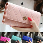 Women Quilted Crown Clutch Long Purse Leather Wallet Card Holder Handbag Bump image