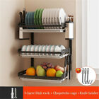 3Tier-Wall-Dish-Drying-Rack-Organizer-Home-Kitchen-Collection-Shelf-Drainer-US
