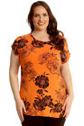 New Womens Plus Size T-Shirt Ladies Floral Print Turn-up Sleeve Top Long-Line