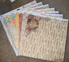 Bo Bunny 12x12 Scrapbook Paper Stickers Chipboard Ambrosia Roses Pansies Dot