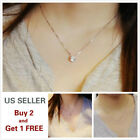 Simple Minimalist Choker Dainty Silver Gold Chain Pendant Necklace Crystal image