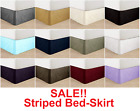 """Luxurious 1500 Thread Count Egyptian Quality Striped Bed-Skirt Ruffle 14"""" Drop  image"""
